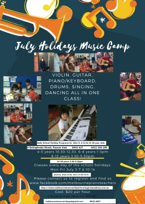 July Holidays Music Camp Flyer 18m-18 years